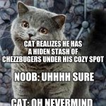 I can has cheezburger cat | CAT: CAN I HAVZ A CHEZZBUGER? CAT: OH NEVERMIND CAT REALIZES HE HAS A HIDEN STASH OF CHEZZBUGERS UNDER HIS COZY SPOT NOOB: UHHHH SURE NOOB:  | image tagged in i can has cheezburger cat | made w/ Imgflip meme maker