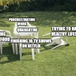 Quarantine be like: | QUARANTINE FINISHING 10 TV SHOWS  ON NETFLIX EATING MORE FOOD PROCRASTINATING WORK TRYING TO HAVE A  HEALTHY LIFESTYLE | image tagged in memes,we will rebuild | made w/ Imgflip meme maker