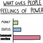 What Gives People Feelings of Power | Comment section | image tagged in what gives people feelings of power,memes | made w/ Imgflip meme maker