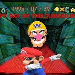 HAPPY DAY OF WARIO APPARITTION | 1995 / 07 / 29 HAPPY DAY OF THE CURSED BETA | image tagged in wario head is come to eat mario,dab mario | made w/ Imgflip meme maker