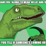 new philosoraptor | IF HAWAIIANS USE 'ALOHA' TO MEAN 'HELLO' AND 'GOODBYE', HOW DO YOU TELL IF SOMEONE'S COMING OR GOING? | image tagged in new philosoraptor | made w/ Imgflip meme maker