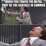 This has happened to me so many times. | WHEN YOU TOUCH THE METAL PART OF THE SEATBELT IN SUMMER | image tagged in eric andre let me in blank,seatbelt,pain,relatable,summer | made w/ Imgflip meme maker