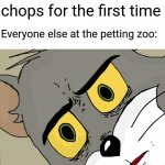 Unsettled Lamb Chops | Me: Tries lamb chops for the first time Everyone else at the petting zoo: | image tagged in memes,unsettled tom,lamb chops,petting zoo,zoo,food | made w/ Imgflip meme maker