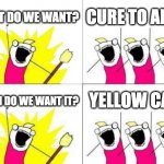 AdHD cure | WHAT DO WE WANT? CURE TO ADHD WHEN DO WE WANT IT? YELLOW CAR! | image tagged in memes,what do we want | made w/ Imgflip meme maker