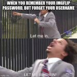 Literally me everyday | WHEN YOU REMEMBER YOUR IMGFLIP PASSWORD BUT FORGET YOUR USERNAME | image tagged in let me in | made w/ Imgflip meme maker