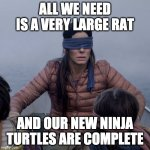 new ninja turtles | ALL WE NEED IS A VERY LARGE RAT AND OUR NEW NINJA TURTLES ARE COMPLETE | image tagged in memes,bird box,teenage mutant ninja turtles | made w/ Imgflip meme maker