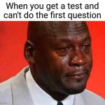 Relatable meme.exe | When you get a test and can't do the first question | image tagged in crying michael jordan,memes,tests,school | made w/ Imgflip meme maker