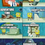 Spongebob shows Patrick Garbage | THERE'S NOT ENOUGH LGBTQ+ CONTENT IN CHILDREN'S MEDIA LEGEND OF KORRA ADVENTURE TIME GRAVITY FALLS STARDEW VALLEY VILLAGERS STEVEN UNIVERSE  | image tagged in spongebob shows patrick garbage | made w/ Imgflip meme maker