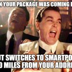 Smartpost not so smart | WHEN YOUR PACKAGE WAS COMING FEDEX BUT SWITCHES TO SMARTPOST 250 MILES FROM YOUR ADDRESS | image tagged in memes,good fellas hilarious | made w/ Imgflip meme maker