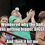 Baseball Haiku | Wondered why the ball  Was getting bigger, BIGGER And then it hit me | image tagged in baseball,haiku,eye,face | made w/ Imgflip meme maker