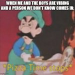 Pizza Time Stops | WHEN ME AND THE BOYS ARE VIBING AND A PERSON WE DON'T KNOW COMES IN: | image tagged in pizza time stops | made w/ Imgflip meme maker