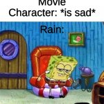 IMMA HEAD IN | Movie Character: *is sad* Rain: IN | image tagged in memes,spongebob ight imma head out | made w/ Imgflip meme maker
