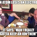 "Hey Google, tell me a bad joke... | AN ATOM LOSES AN ELECTRON IT SAYS ""MAN I REALLY GOTTA KEEP AN ION THEM"" 