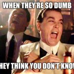 LoL | WHEN THEY'RE SO DUMB THEY THINK YOU DON'T KNOW | image tagged in memes,good fellas hilarious | made w/ Imgflip meme maker