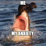 anxiety | ME MY ANXIETY | image tagged in memes,travelonshark | made w/ Imgflip meme maker