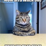 Take A Seat Cat Meme | THE WAY MY MOM SITS WHEN SHE WAITS FOR ME TO GET OF SCHOOL WHEN IM IN TROUBLE | image tagged in memes,take a seat cat | made w/ Imgflip meme maker