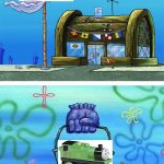 I rather want a 2002 TWR oliver than a 2006 one | image tagged in memes,krusty krab vs chum bucket blank | made w/ Imgflip meme maker