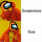 Among us terms be like: | Suspicious Sus | image tagged in memes,drake hotline bling,funny,among us,sus,gaming | made w/ Imgflip meme maker