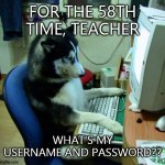 I Have No Idea What I Am Doing Meme | FOR THE 58TH TIME, TEACHER WHAT'S MY USERNAME AND PASSWORD?? | image tagged in memes,i have no idea what i am doing | made w/ Imgflip meme maker