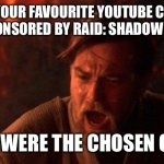 You Were The Chosen One (Star Wars) Meme | WHEN YOUR FAVOURITE YOUTUBE CHANNEL GETS SPONSORED BY RAID: SHADOW LEGENDS YOU WERE THE CHOSEN ONE! | image tagged in memes,you were the chosen one star wars | made w/ Imgflip meme maker
