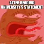 university life | AFTER READING UNIVERSITY'S STATEMENT | image tagged in rage pepe,university | made w/ Imgflip meme maker