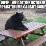 Bad Luck Bear Meme | WELP... WE GOT THE OCTOBER SURPRISE TRUMP CAUGHT COVID 19 | image tagged in memes,bad luck bear | made w/ Imgflip meme maker