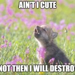 Baby Insanity Wolf Meme | AIN'T I CUTE IF NOT THEN I WILL DESTROY U | image tagged in memes,baby insanity wolf | made w/ Imgflip meme maker