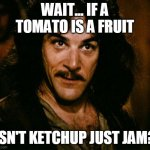 Inigo Montoya Meme | WAIT... IF A TOMATO IS A FRUIT ISN'T KETCHUP JUST JAM? | image tagged in memes,inigo montoya | made w/ Imgflip meme maker