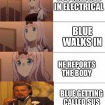 Among Sus Meme | YOU KILL RED IN ELECTRICAL BLUE WALKS IN HE REPORTS THE BODY BLUE GETTING CALLED SUS | image tagged in chika template | made w/ Imgflip meme maker