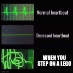 heartbeat rate | WHEN YOU STEP ON A LEGO | image tagged in heartbeat rate | made w/ Imgflip meme maker