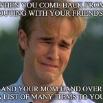 1990s First World Problems Meme | WHEN YOU COME BACK FROM OUTING WITH YOUR FRIENDS AND YOUR MOM HAND OVER A LIST OF MANY ITEMS TO YOU | image tagged in memes,1990s first world problems | made w/ Imgflip meme maker