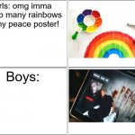 Girls vs Boys Meme | Girls: omg imma put so many rainbows on my peace poster! Boys: | image tagged in memes,blank comic panel 2x2 | made w/ Imgflip meme maker