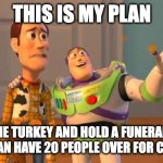 Victoria 2020 Christmas | THIS IS MY PLAN KILL THE TURKEY AND HOLD A FUNERAL, THAT WAY WE CAN HAVE 20 PEOPLE OVER FOR CHRISTMAS | image tagged in toystory everywhere | made w/ Imgflip meme maker
