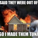 Burn Kitty Meme | THEY SAID THEY WERE OUT OF TUNA SO I MADE THEM TUNA | image tagged in memes,burn kitty,grumpy cat | made w/ Imgflip meme maker