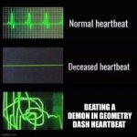 Geometry dash reference | BEATING A DEMON IN GEOMETRY DASH HEARTBEAT | image tagged in heartbeat rate | made w/ Imgflip meme maker