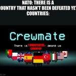 There is 1 imposter among us | NATO: THERE IS A COUNTRY THAT HASN'T BEEN DEFEATED YET. COUNTRIES: 1 UNDEFEATED COUNTRY | image tagged in there is 1 imposter among us | made w/ Imgflip meme maker