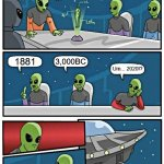 Visual Minutes for the Galactic Board of Directors Meeting... | Next we will entertain suggestions for the annual time-travel destination... 1881 3,000BC Um... 2020!? | image tagged in memes,alien meeting suggestion | made w/ Imgflip meme maker