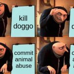 poor poor doggo... | kill doggo eat doggo commit animal abuse commit animal abuse | image tagged in memes,gru's plan | made w/ Imgflip meme maker