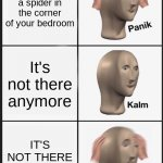 PANIK | You see a spider in the corner of your bedroom It's not there anymore IT'S NOT THERE ANYMORE!!!! | image tagged in memes,panik kalm panik | made w/ Imgflip meme maker