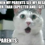 true story | WHEN MY PARENTS SEE MY RESULT EARLIER THAN EXPECTED AND I GET AN A+ MY PARENTS: | image tagged in memes,omg cat | made w/ Imgflip meme maker