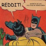 Batman Slapping Robin Meme | REDDIT! WHERE ELSE CAN YOU FIND MY MEME ROBIN | image tagged in memes,batman slapping robin | made w/ Imgflip meme maker