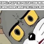 it is a pretty disturbing song. | ME WHO KNOWS WHAT THE LYRICS MEAN: PEOPLE: PLAY THE POLISH COW MEME | image tagged in tom cat unsettled close up | made w/ Imgflip meme maker