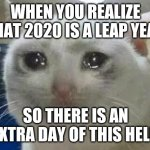 Oh God... | WHEN YOU REALIZE THAT 2020 IS A LEAP YEAR SO THERE IS AN EXTRA DAY OF THIS HELL | image tagged in crying cat,2020 sucks,2020 memes | made w/ Imgflip meme maker