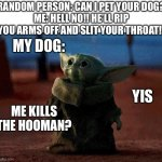Baby Yoda | RANDOM PERSON: CAN I PET YOUR DOG? ME: HELL NO!! HE'LL RIP YOU ARMS OFF AND SLIT YOUR THROAT!! MY DOG: YIS ME KILLS THE HOOMAN? | image tagged in baby yoda | made w/ Imgflip meme maker