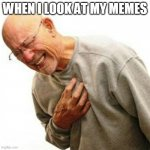 When i look at my memes | WHEN I LOOK AT MY MEMES | image tagged in memes,right in the childhood,bad memes,look,omg,when | made w/ Imgflip meme maker