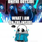 anyone like this? | WHAT I AM ON THE OUTSIDE WHAT I AM ON THE INSIDE | image tagged in sans undertale | made w/ Imgflip meme maker