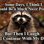 Evil Plotting Raccoon Meme | Some Days, I Think I Should Be a Much Nicer Person, But Then I Laugh and Continue With My Day! | image tagged in memes,evil plotting raccoon | made w/ Imgflip meme maker