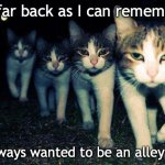 Sum random Goodfellas meme | As far back as I can remember I always wanted to be an alley cat | image tagged in memes,wrong neighboorhood cats,goodfellas | made w/ Imgflip meme maker