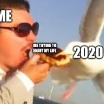 swiping seagull | ME ME TRYING TO ENJOY MY LIFE 2020 | image tagged in swiping seagull | made w/ Imgflip meme maker