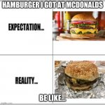too many expactations | HAMBURGER I GOT AT MCDONALDS BE LIKE... | image tagged in expectation vs reality | made w/ Imgflip meme maker